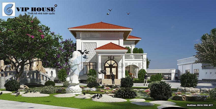 Khối nhà chính được thiết kế sang trọng, đẹp gần gũi và đậm chất Á Đông