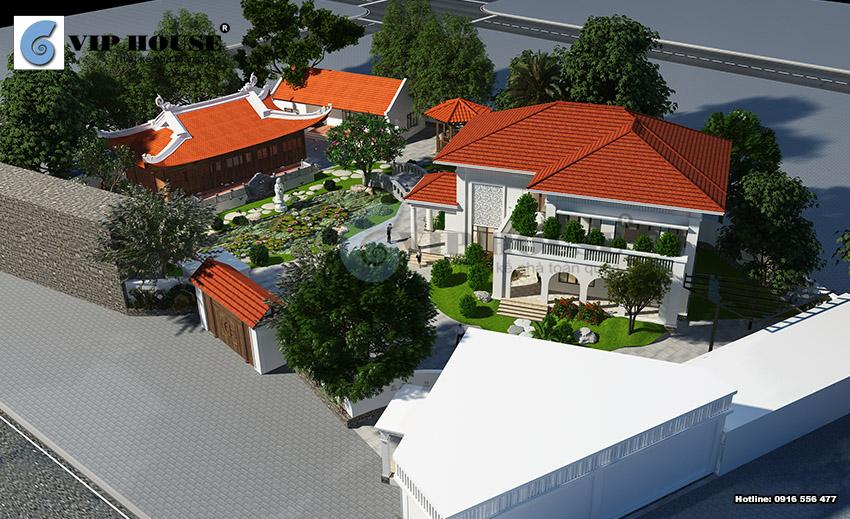 Phối cảnh tổng thể quy hoạch biệt thự hiện đại Á Đông 2 tầng tại Vũng Tàu