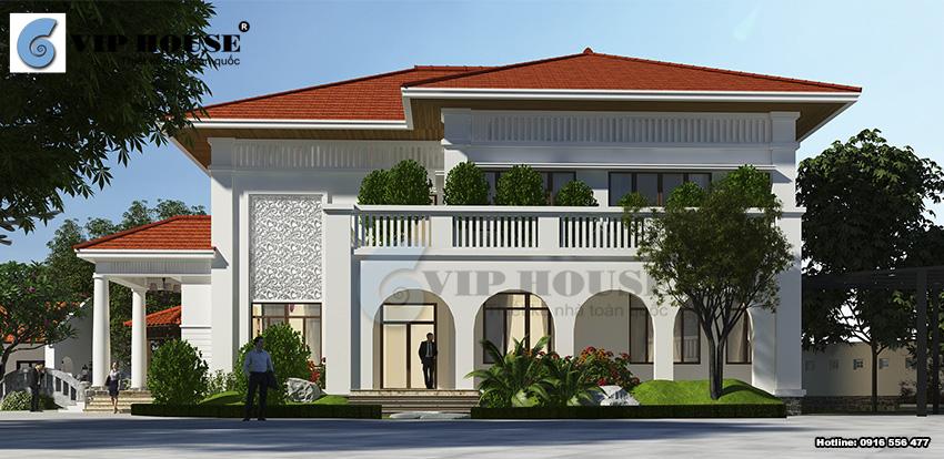 Mặt bên khối nhà chính của mẫu biệt thự hiện đại Á Đông 2 tầng