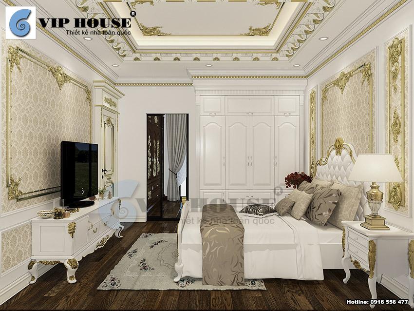 Không gian phòng ngủ khách được thiết kế với tone trắng chủ đạo, họa tiết mạ vàng