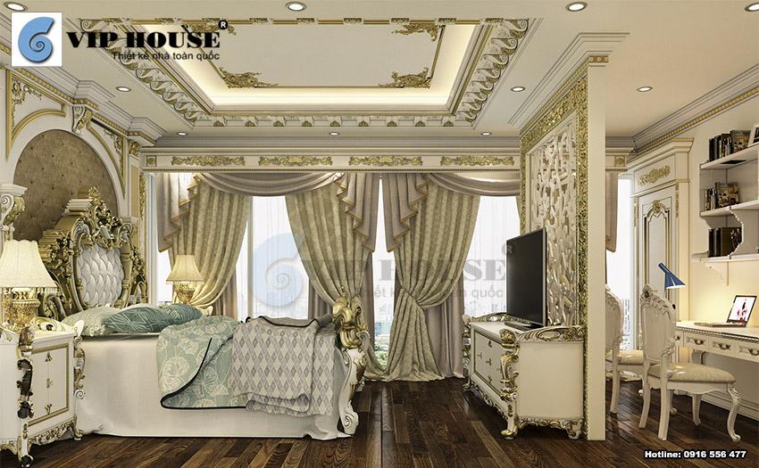 Phòng ngủ master trong căn Penthouse được tích hợp bàn làm việc