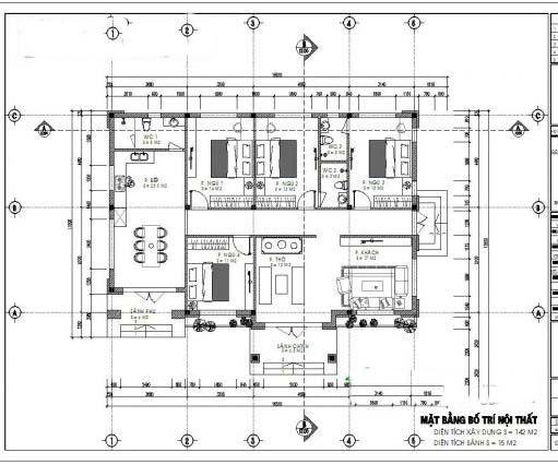 Mặt bằng bố trí công năng mẫu nhà cấp 4 4 phòng ngủ diện tích 120m2
