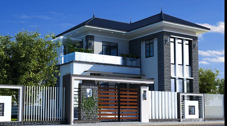 Mẫu thiết kế biệt thự mini hiện đại chữ L tại nông thôn