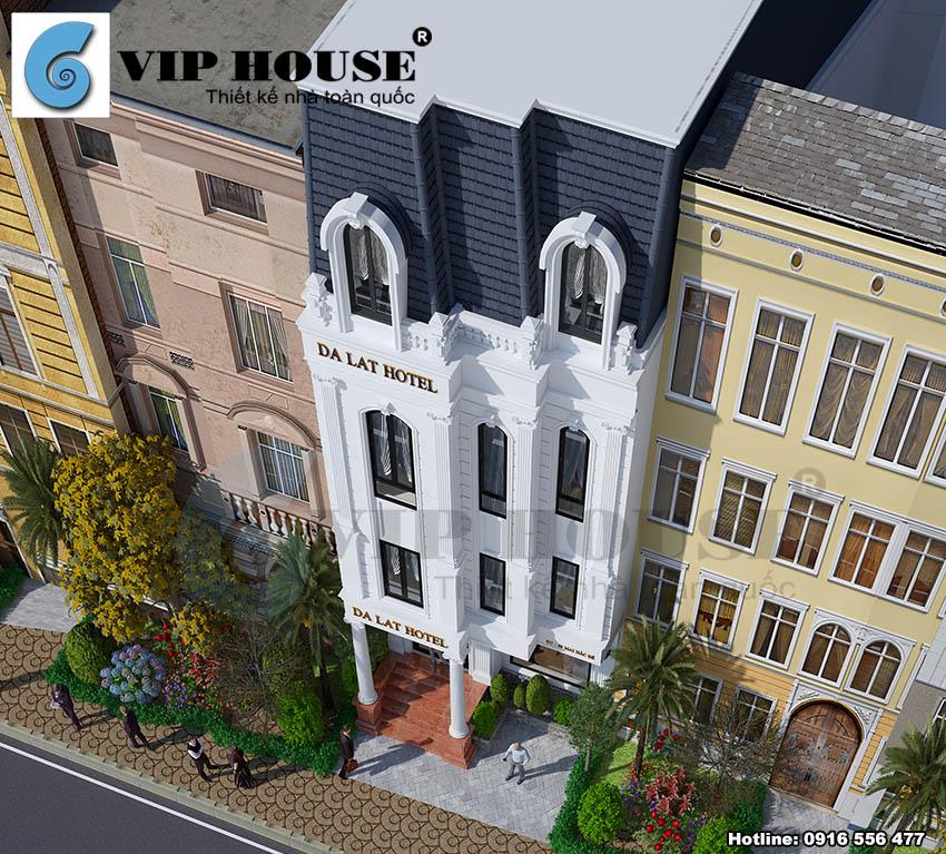 Khách sạn tân cổ điển 2 sao phối cảnh từ trên cao