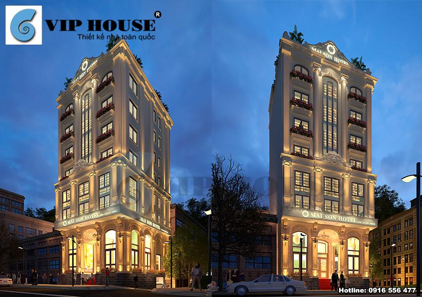 Mẫu khách sạn phong cách tân cổ điển 3 sao sang trọng