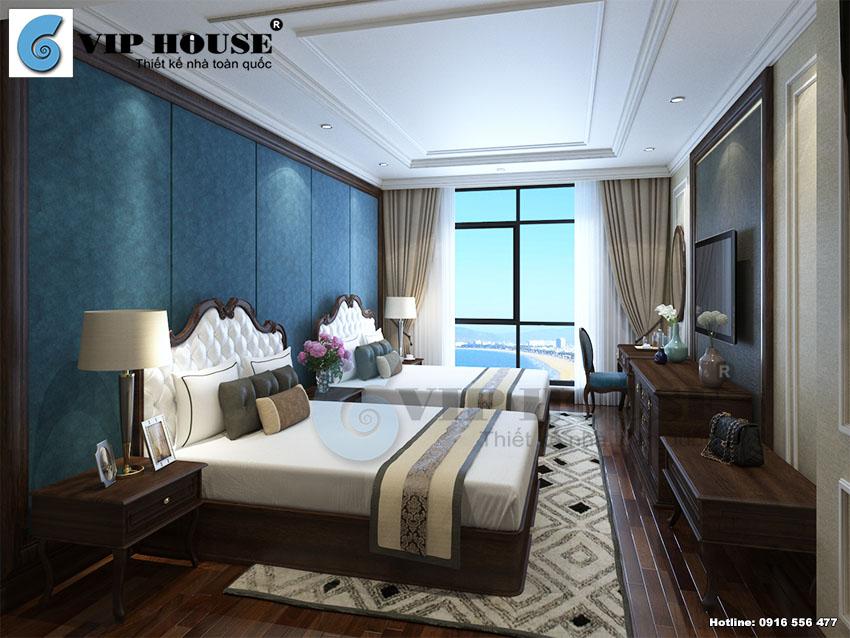 Mẫu thiết kế nội thất phòng ngủ 3 sao 2 giường phong cách tân cổ điển