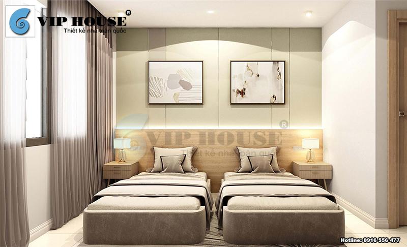 Mẫu phòng ngủ khách sạn mini với 2 giường đơn