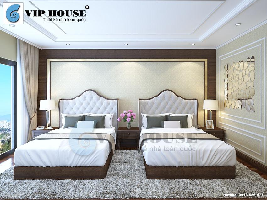 Mẫu thiết kế phòng ngủ khách sạn 4 sao màu sắc chất liệu cao cấp