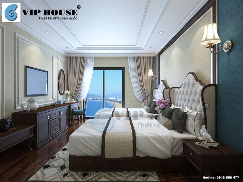 Mẫu thiết kế nội thất phòng ngủ 3 sao ấn tượng theo kiểu tân cổ điển