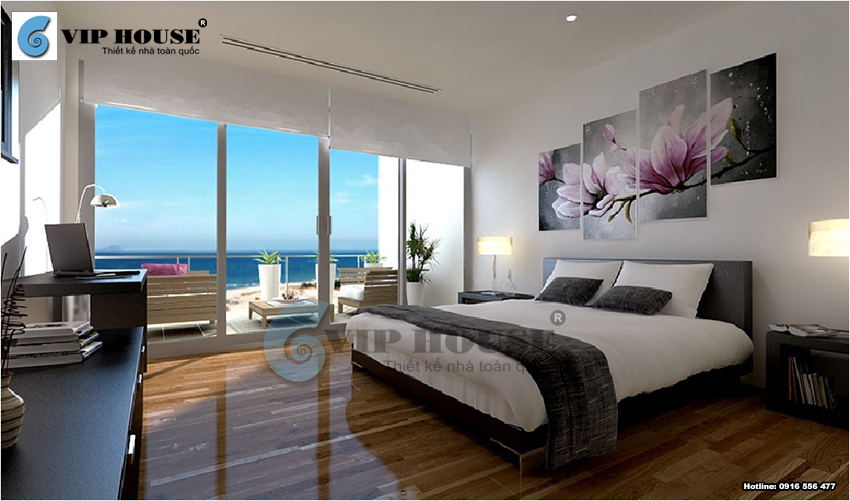 Mẫu thiết kế phòng ngủ khách sạn 4 sao hướng biển có ban công lớn
