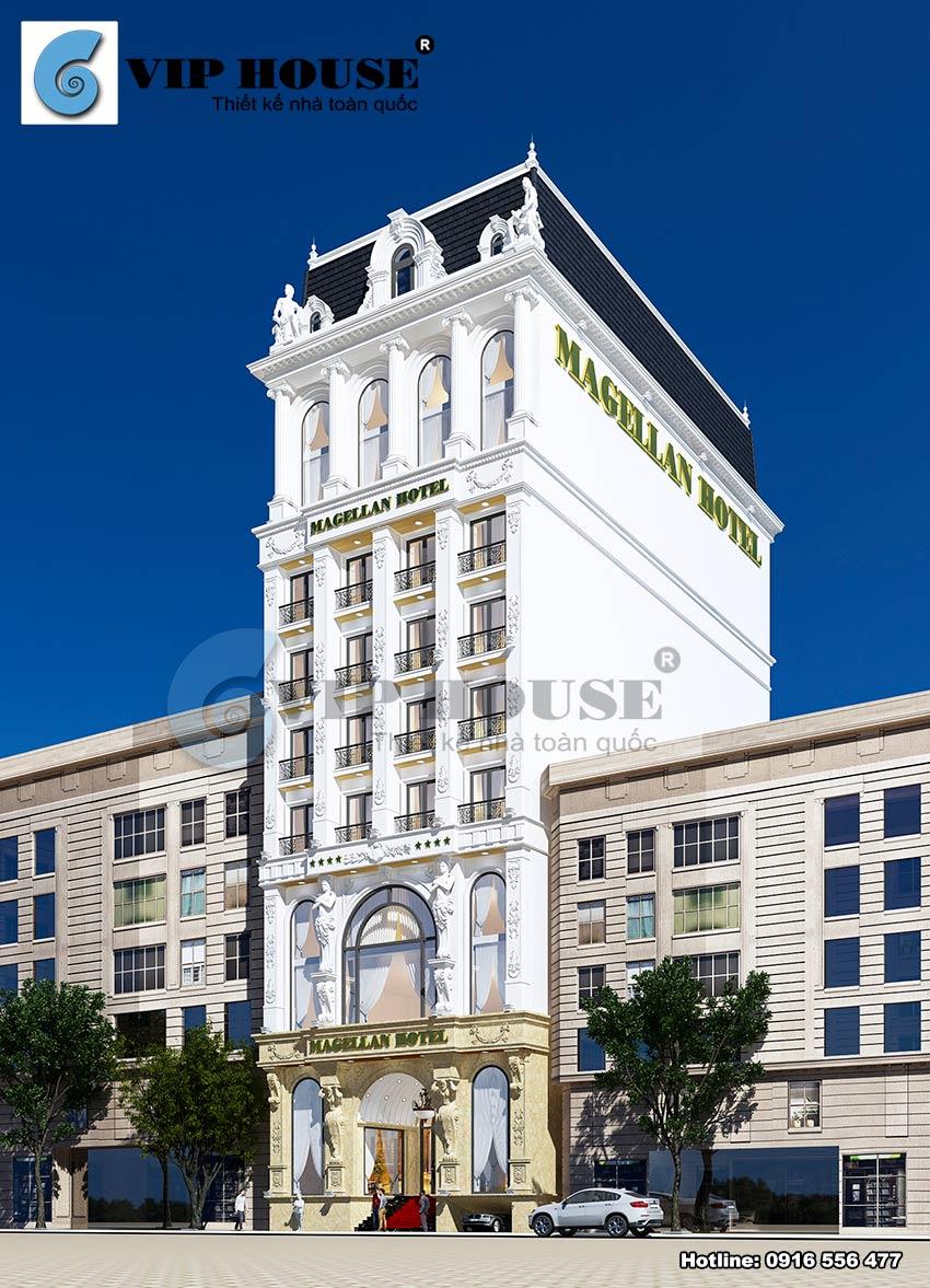 Kiến trúc ngoại thất khách sạn phong cách tân cổ điển Magellan Hotel