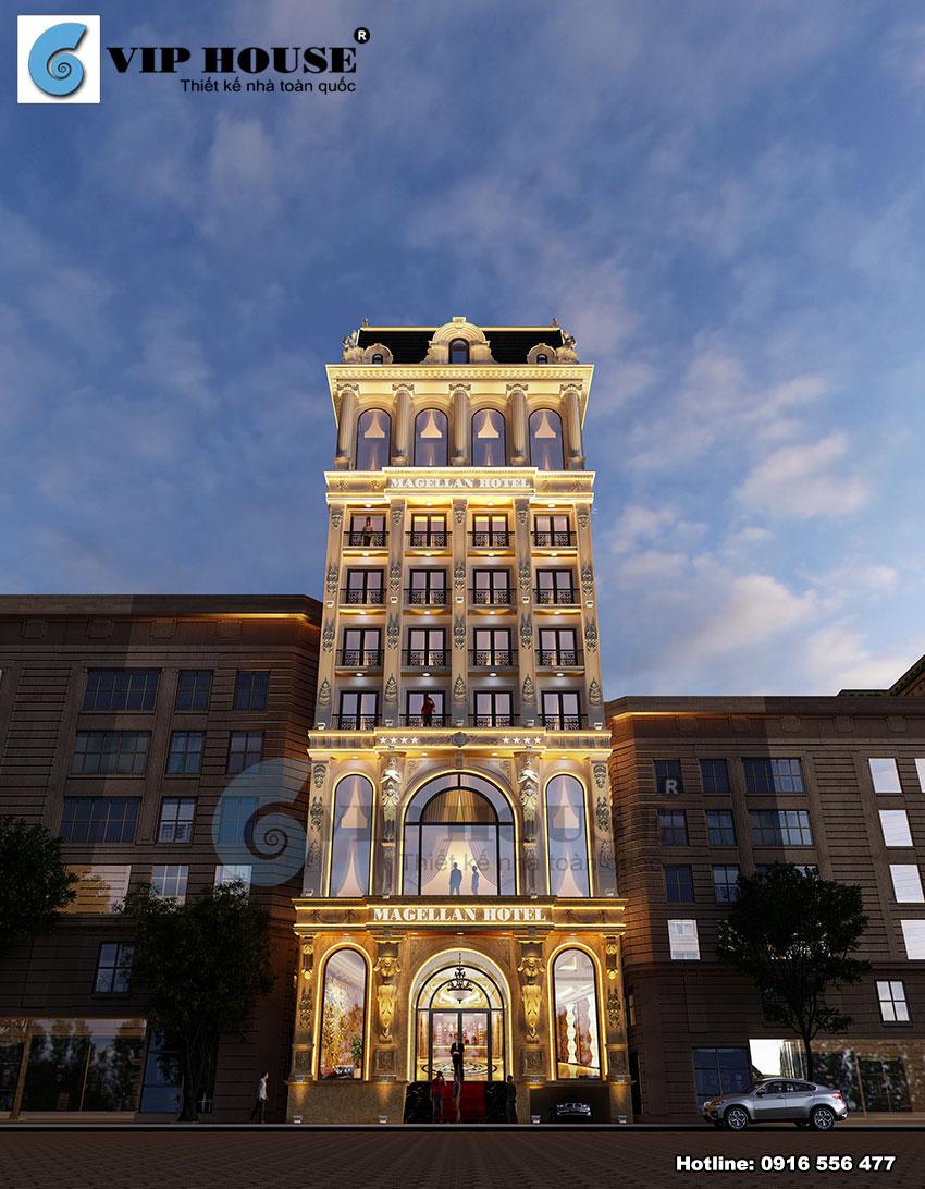 Khu vực sảnh là điểm nhấn nổi bật của toàn công trình khách sạn
