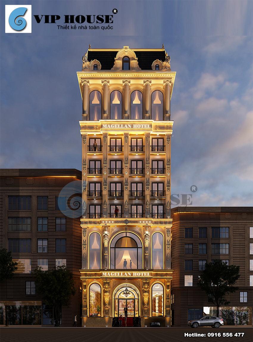 Mẫu thiết kế khách sạn tân cổ điển - phối cảnh ban đêm