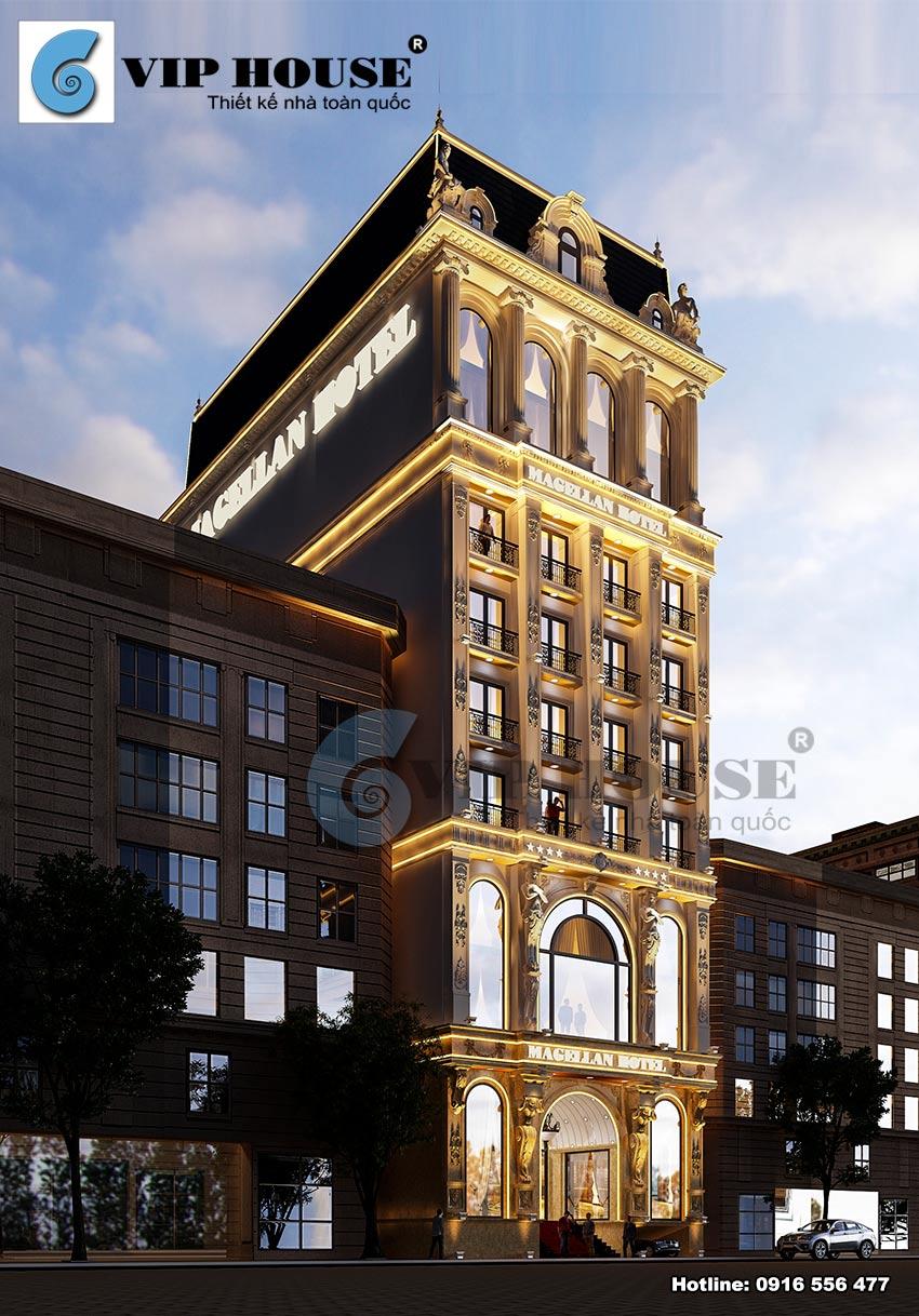Mẫu thiết kế khách sạn tân cổ điển 4 saokiều diễm và thanh lịch