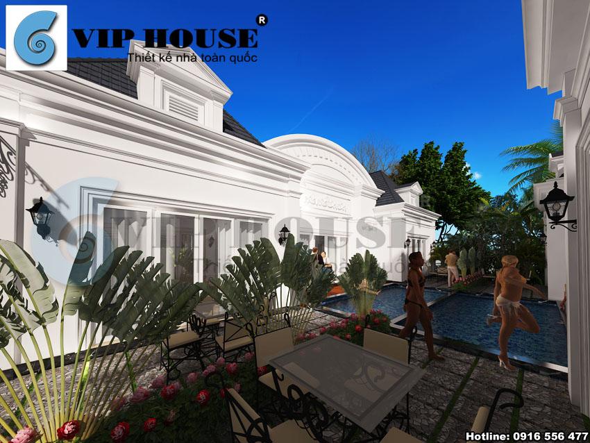 Mỗi biệt thự trong Resort đều được thiết kế với tiện nghi bể bơi ngoài trời
