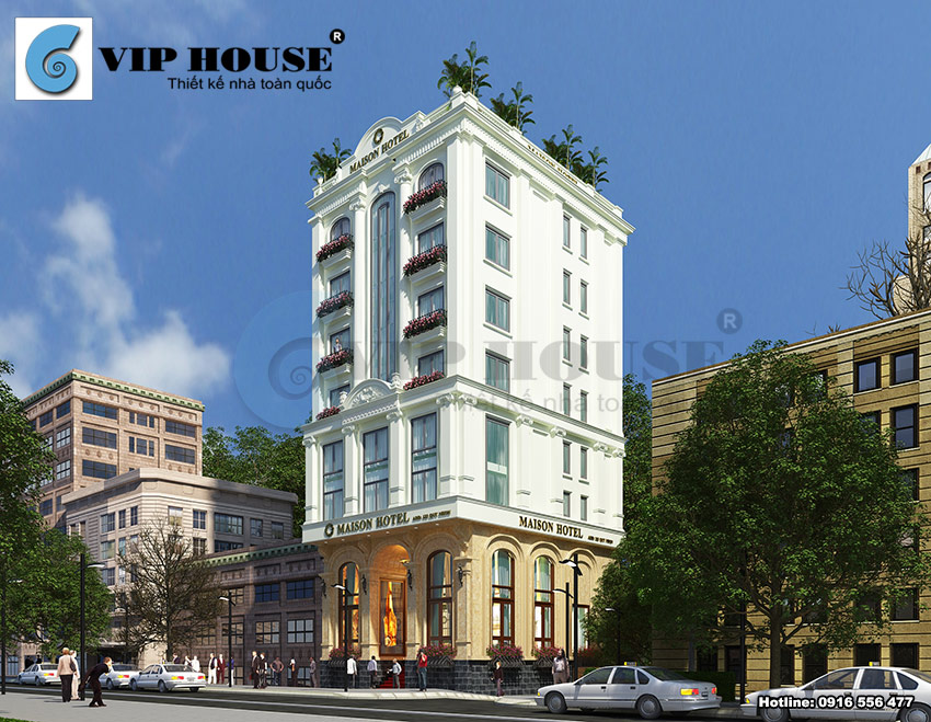 Hình ảnh: Phối cảnh kiến trúc khách sạn 3 sao tân cổ điển 2 mặt tiền