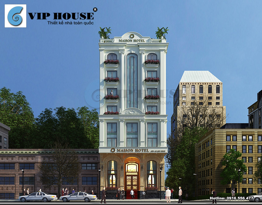 Thiết kế mặt tiền khách sạn La MAISON tại Quy Nhơn