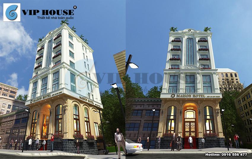 Thiết kế khách sạn tân cổ điển 9 tầng tại Quy Nhơn hướng nhìn từ trên cao