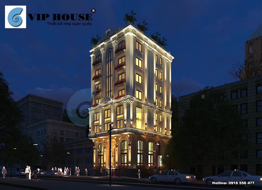 Thiết kế khách sạn tân cổ điển 2 mặt tiền lộng lẫy và xa hoa hơn vào ban đêm