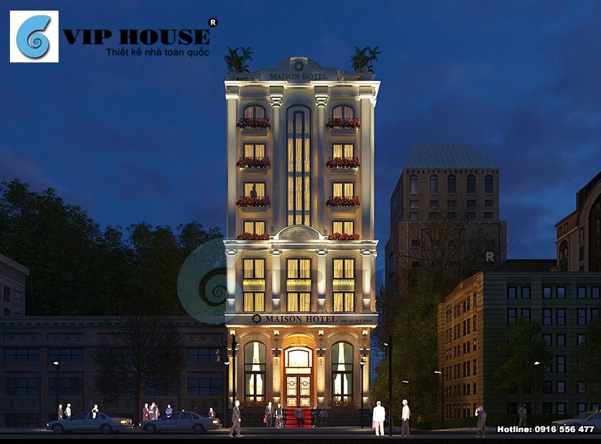 Hệ thống đèn chiếu sáng vàng tăng thêm vẻ sang trọng, ấm áp và thân thiện của khách sạn