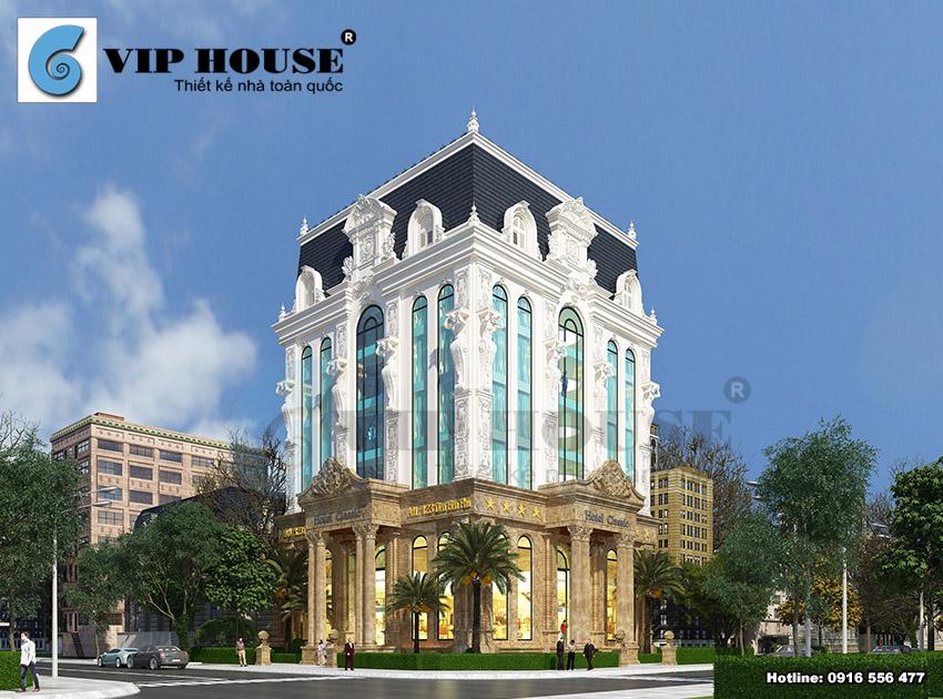 Thiết kế khách sạn cổ điển 6 tầng 2 mặt tiền – tổng thể kiến trúc tinh tế và sang trọng.