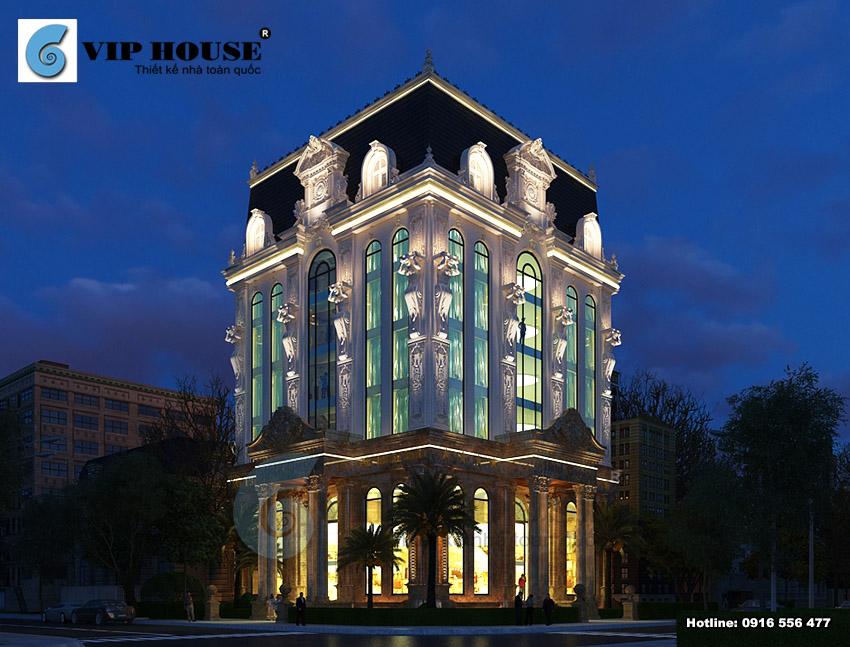 Không gian khách sạn cổ điển 2 mặt tiền phối cảnh ban đêm