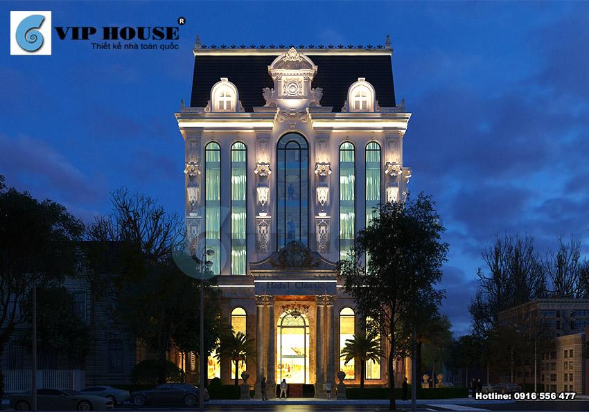 Mẫu khách sạn 3 sao kiến trúc cổ điển lộng lẫy khi màn đêm xuống