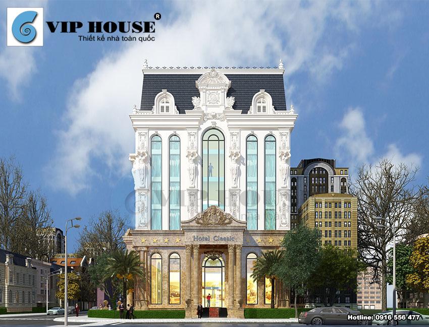 Thiết kế khách sạn cổ điển 6 tầng 2 mặt tiền – mặt tiền thứ nhất của khách sạn