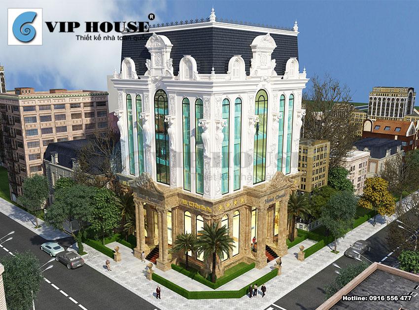 Thiết kế khách sạn cổ điển 6 tầng 2 mặt tiền –nét đẹp kiêu hãnh được hể hiện qua view nhìn tổng thể của toàn bộ công trình.