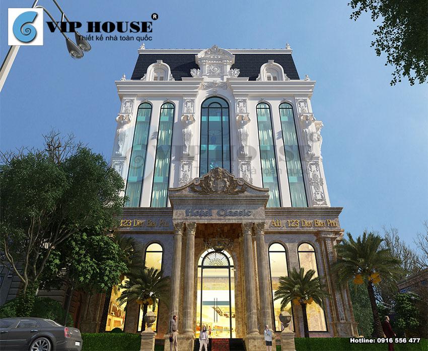 Thiết kế khách sạn cổ điển 6 tầng 2 mặt tiền – hình ảnh chi tiết của các hoa văn phào chỉ được thiết kế một cách vô cùng tỉ mỉ.
