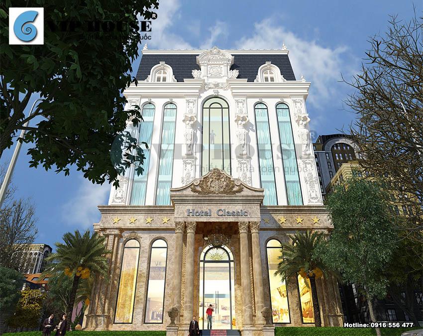 Thiết kế khách sạn cổ điển 6 tầng 2 mặt tiền – view nhìn từ trên cao cho một cái nhìn tuyệt đẹp.