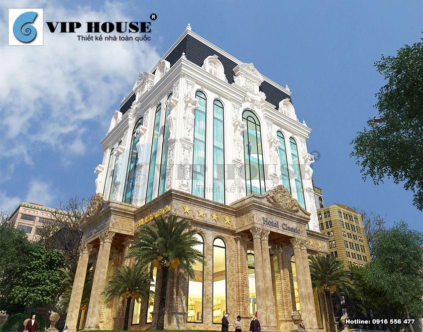 Thiết kế khách sạn cổ điển 6 tầng 2 mặt tiền – mặt tiền thứ 2 của khách sạn