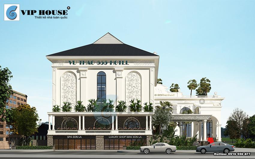 Cảnh quan sân vườn mẫu thiết kế khách sạn 4 sao kiểu Pháp tại Sơn La
