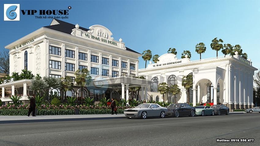 Phối cảnh kiến trúc công trình khách sạn 4 sao 5 tầngtại Sơn La