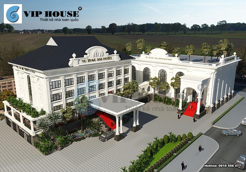 Phối cảnh kiến trúctổng thể công trình khách sạn 4 sao tại Sơn La