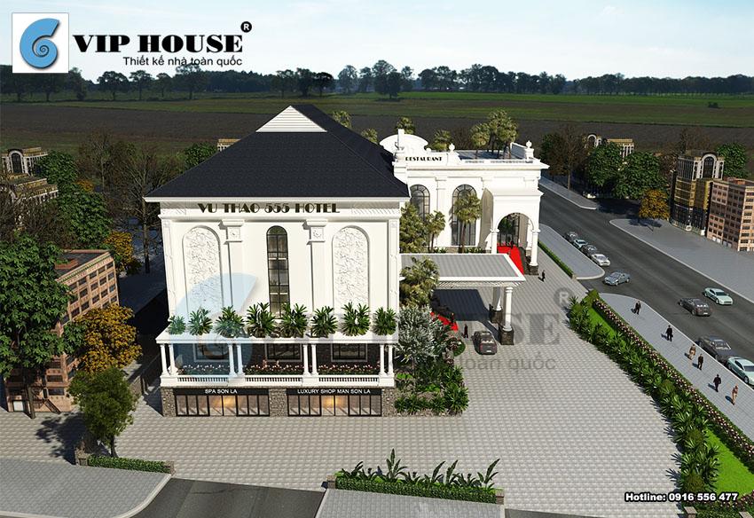 Mặt tiền công trình thiết kế khách sạn 4 sao diện tích 2000m2