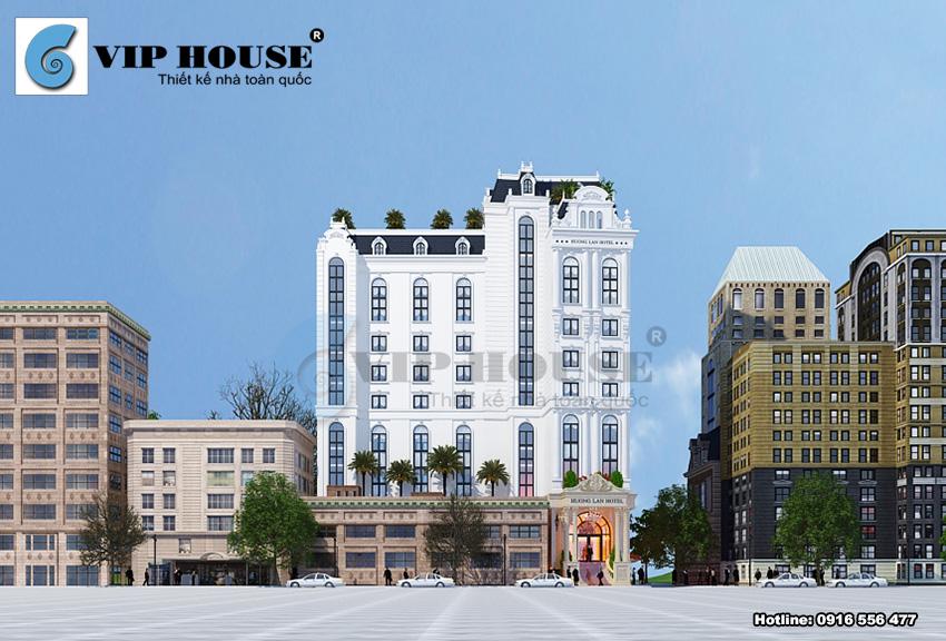 góc view thể hiện sự quy mô và hoành tráng trong thiết kế khách sạn kiểu Pháp.