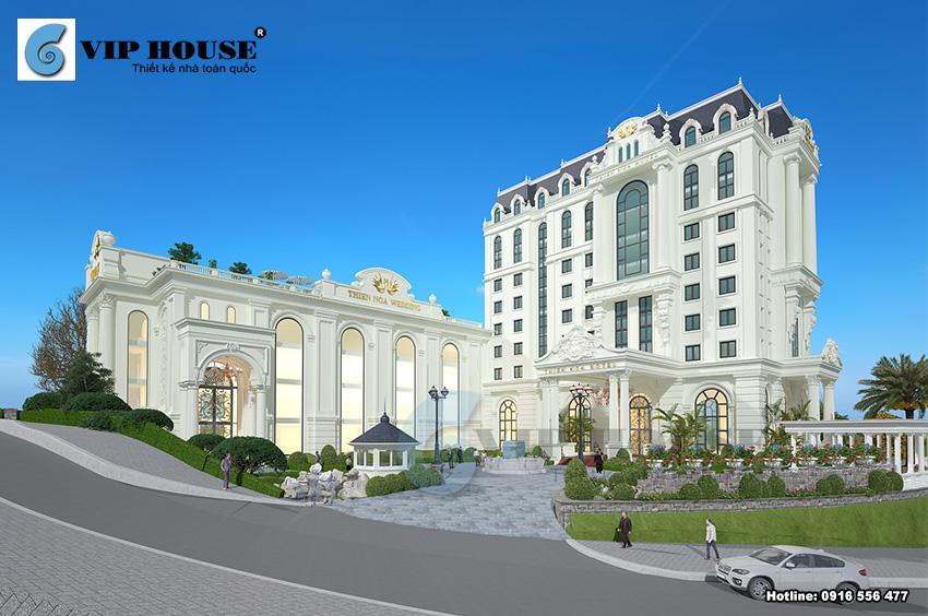 Công trình khách sạn được thiết kế với khuôn viên rộng cùng cảnh quan cây xanh bao quanh