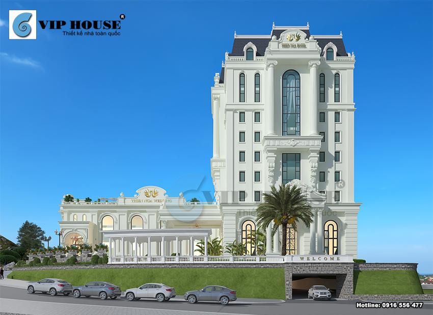 Mặt tiền chính đẹp mãn nhãn của công trình khách sạn 11 tầng Thiên Nga Hotel