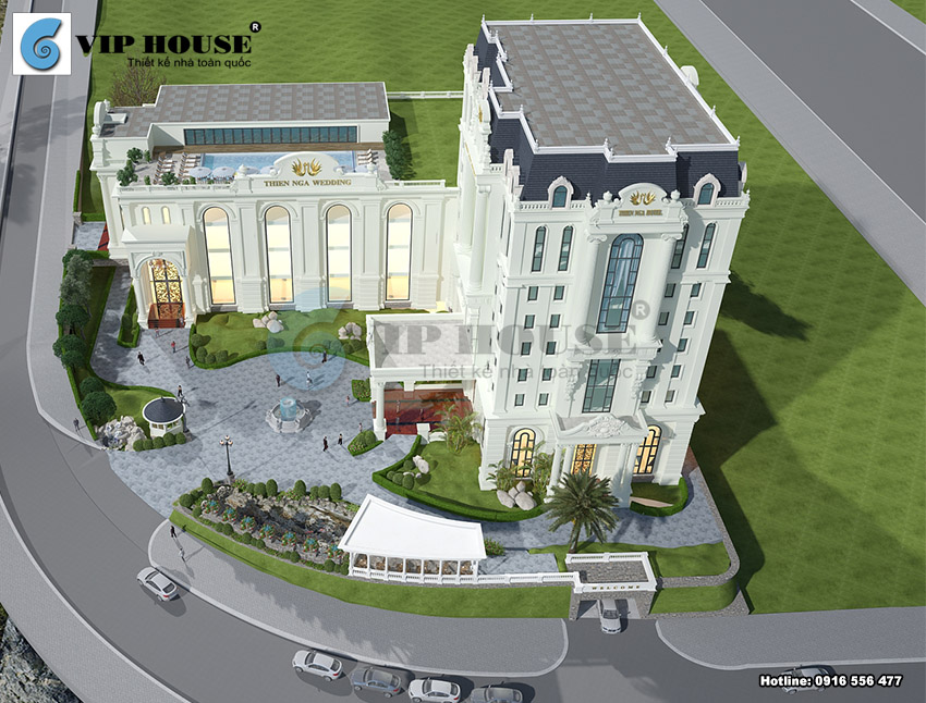 Mẫu thiết kế khách sạn kiêm nhà hàng tiệc cưới tiêu chuẩn 4 sao sang trọng và lộng lẫy