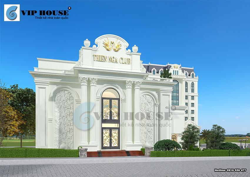 Mặt tiền tiếp giáp với đường lớn là lối đi vàokhu dịch vụ giải tríThiên Nga Club được thiết kế vô cùng sang trọng và độc đáo
