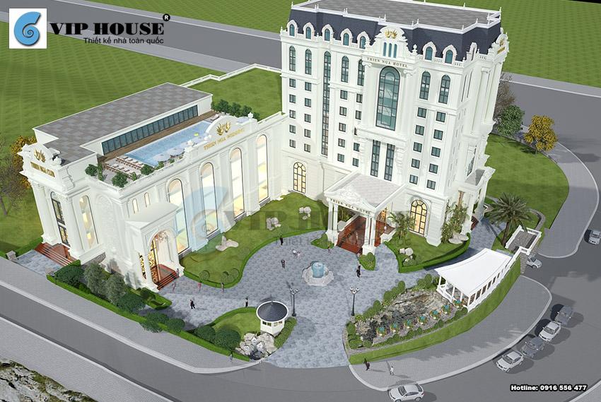 Phối cảnh tổng thể mẫu thiết kế khách sạn tân cổ điển tiêu chuẩn 4 sao tại Lào Cai
