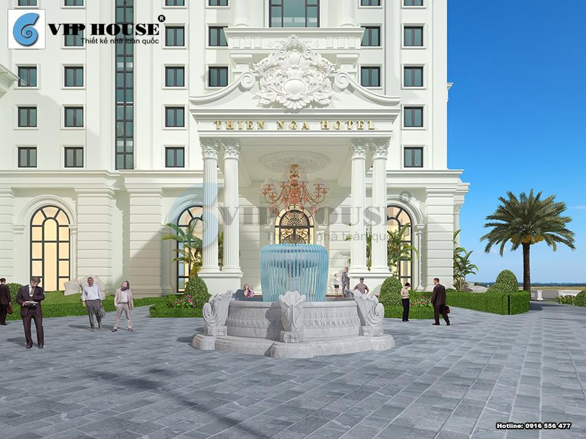 Sảnh chính của khách sạn được thiết kế công phu và tỷ mỷ tạo nên ấn tượng độc đáo