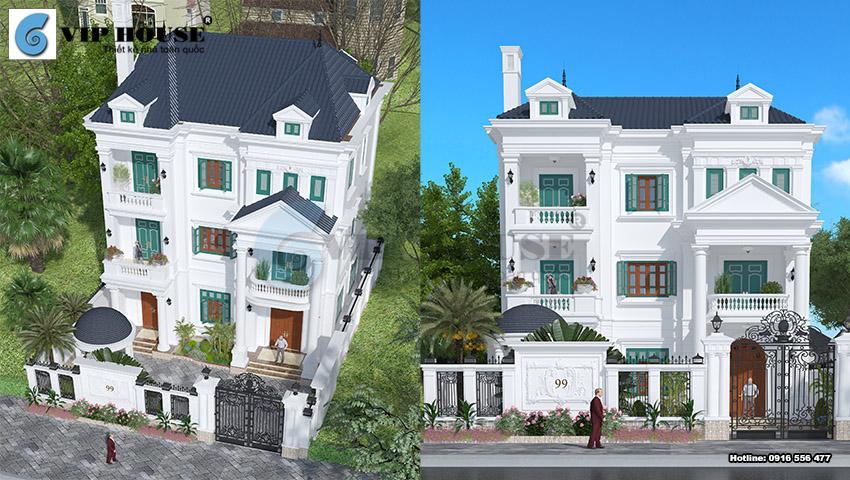 Mẫu thiết kế biệt thự 3 tầng phong cách tân cổ điển tại Ninh Bình