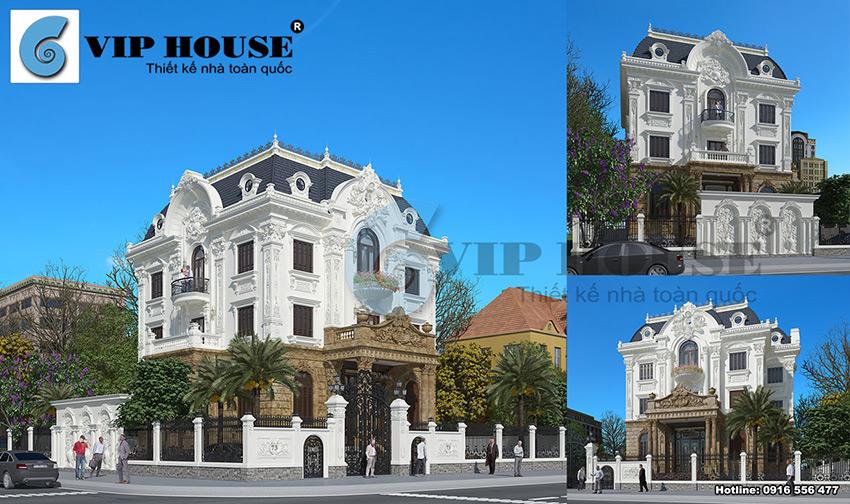 Mẫu thiết kế biệt thự cổ điển 3 tầng đẹp mãn nhãn