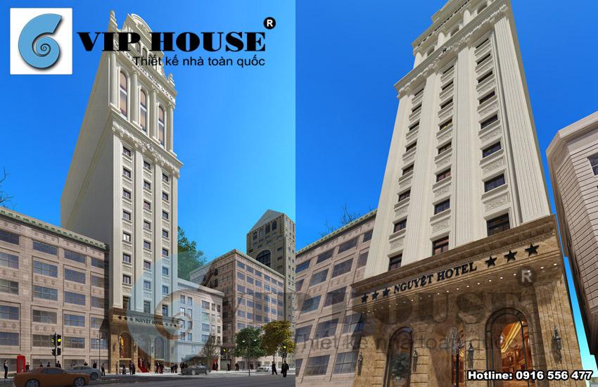 Mẫu thiết kế khách sạn cổ điển 13 tầng diện tích 180m2 sang trọng