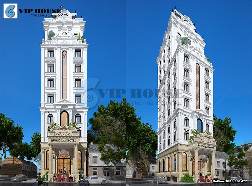 Mẫu thiết kế khách sạn 3 sao phong cách cổ điển diện tích 280m2