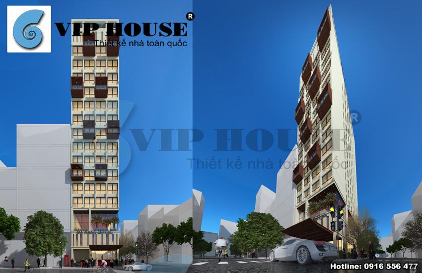 Mẫu thiết kế khách sạn mini phong cách hiện đại có 2 mặt tiền đẹp