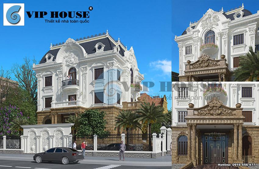 Biệt thự kiểu Pháp 3 tầng 2 mặt tiền đẹp sang trọng