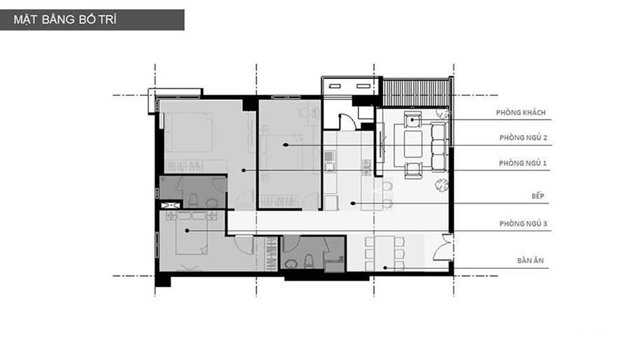 Mặt bằng thiết kế nội thất căn hộ chung cư 105m2 The Sun Garden